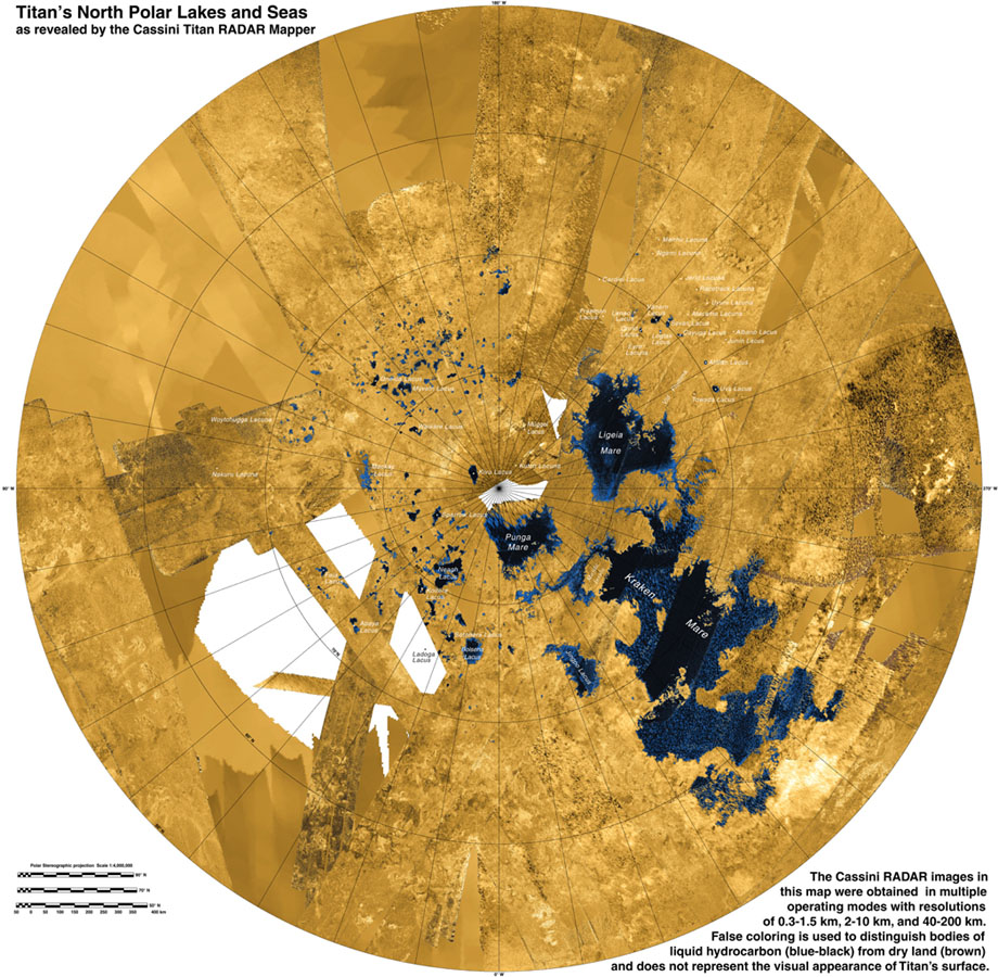 This colorized mosaic from NASA's Cassini mission shows the most complete view yet of Titan's northern land of lakes and seas. The liquid in Titan's lakes and seas is mostly methane and ethane.