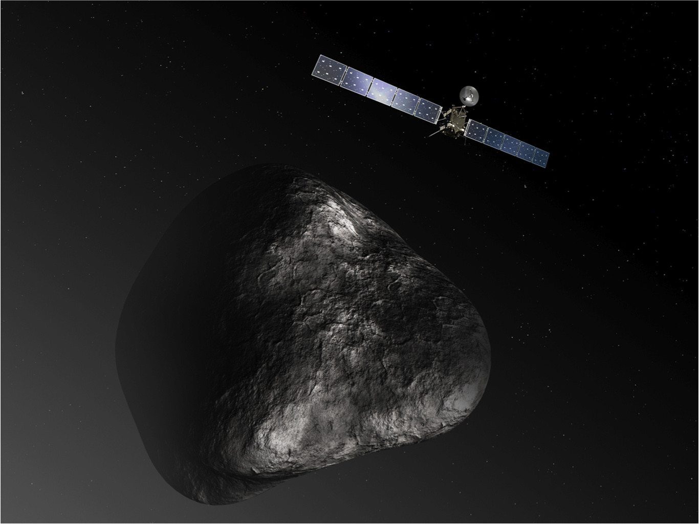 Artist's impression of the Rosetta orbiter at comet 67P/Churyumova-Gerasimenko. The image is not to scale.