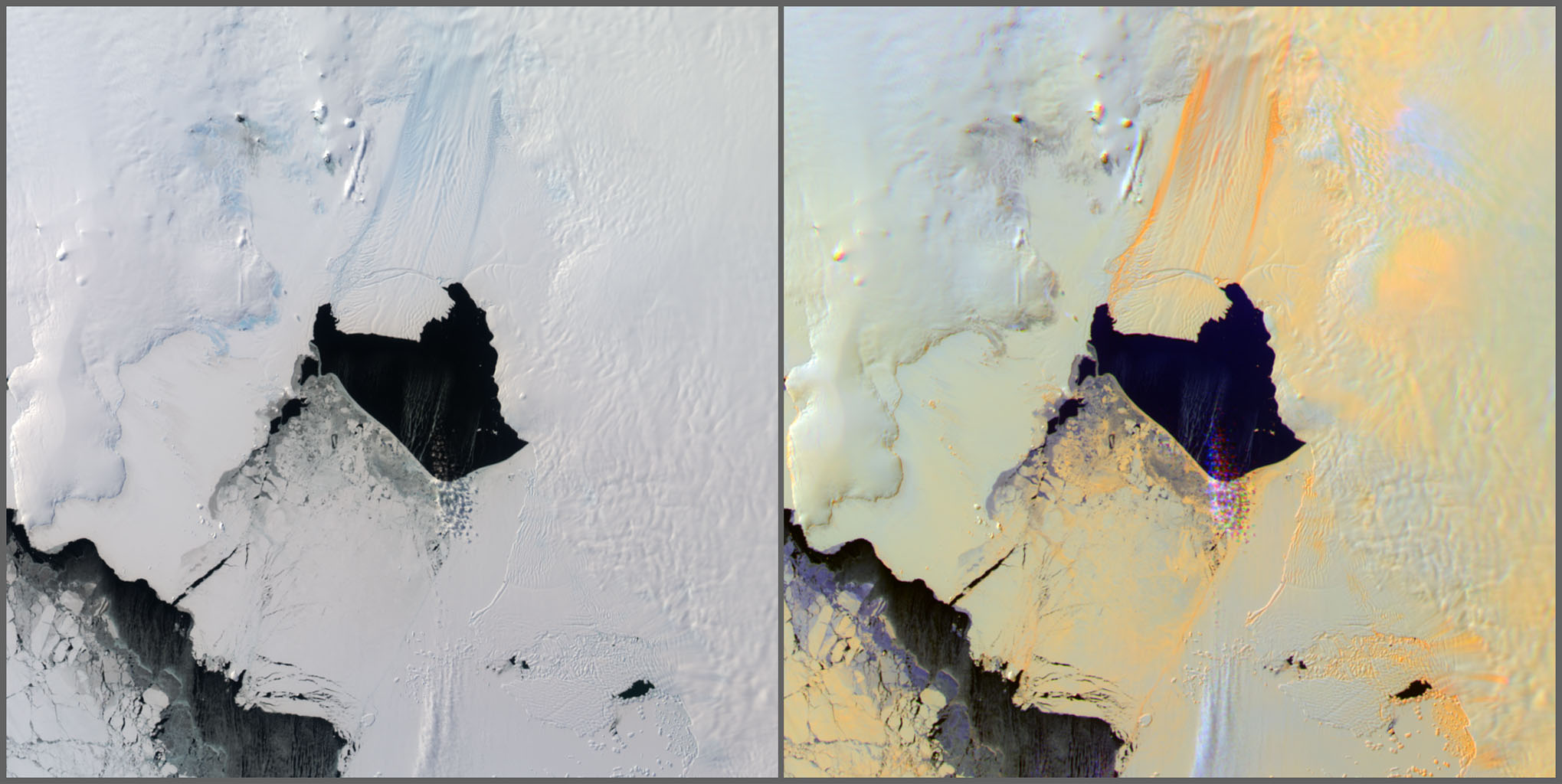 NASA's Terra satellite passed over the Pine Island Glacier in Antarctica around Oct. 27, 2013, just days before iceberg B-31 broke completely free. B-31 is finally moving away from the coast, with open water between the iceberg and the glacier.