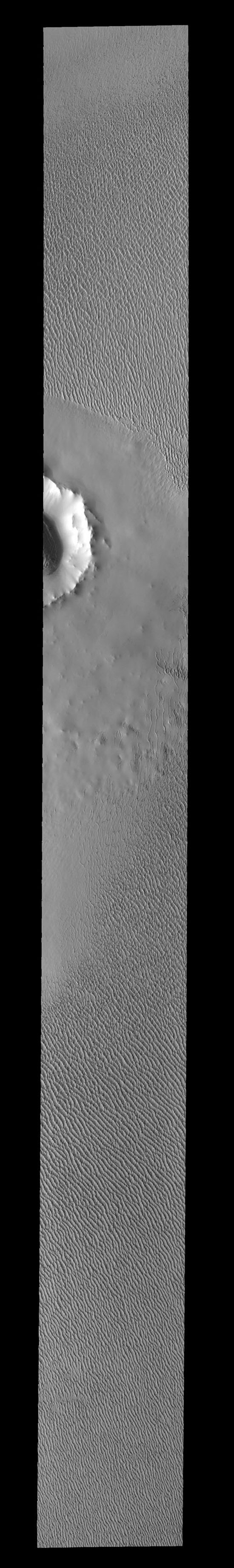 This image from NASA's 2001 Mars Odyssey spacecraft shows sand dunes located near the north polar cap. It is springtime and the dunes will darken with time as the winter frost sublimates in the sun.
