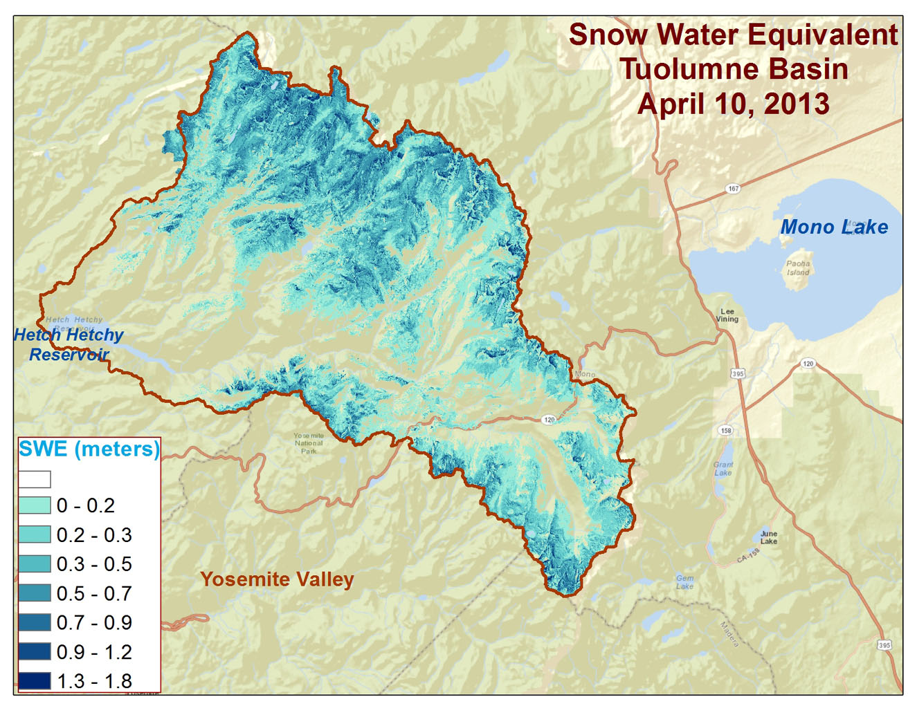 Spatial distribution of snow water equivalent across the Tuolumne River Basin from April 10 to June 1, 2013 as measured by NASA's Airborne Snow Observatory.