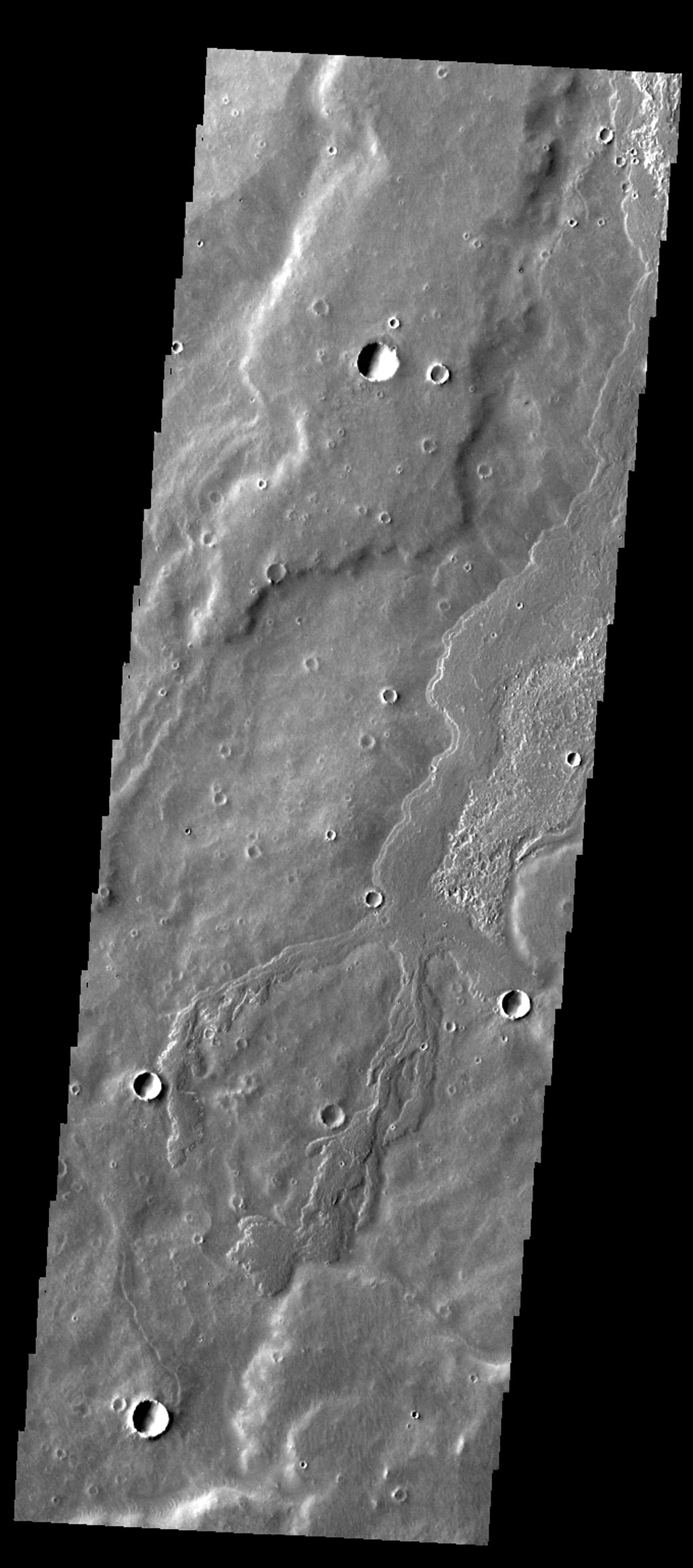 This image captured by NASA's 2001 Mars Odyssey spacecraft of Daedalia Planum contains a narrow lava flow and shows the end of the flow. The end of a lava flow is often called the 'toe' and is formed when the eruption creating the flow slows down or stops