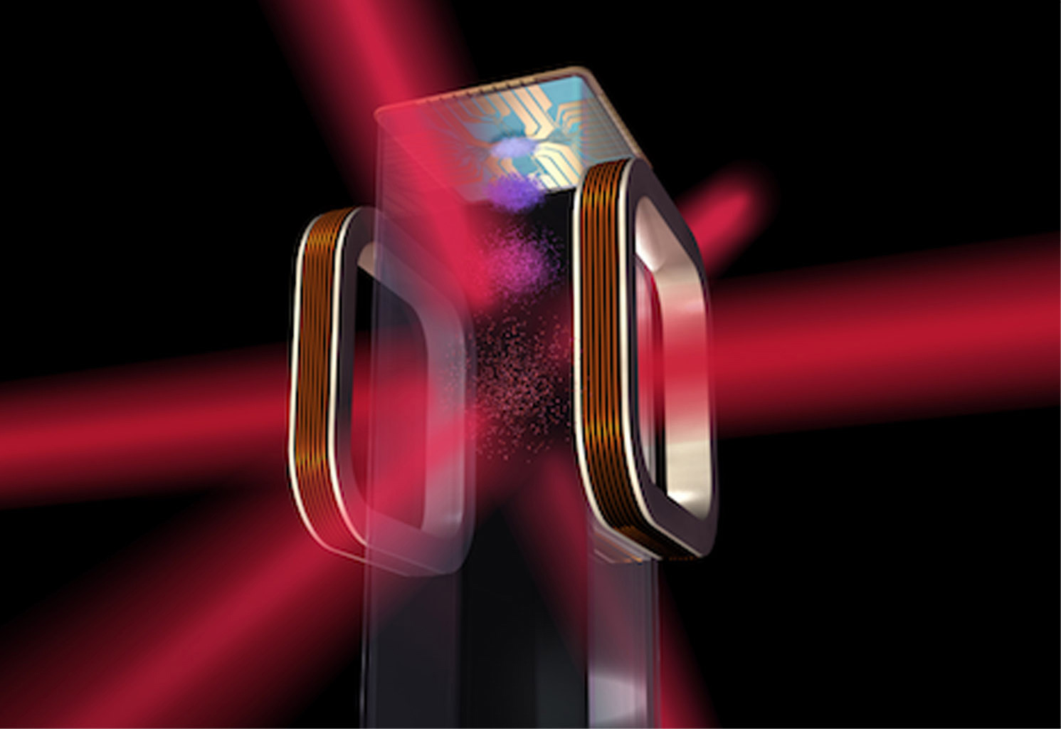Artist's concept of a magneto-optical trap and atom chip to be used by NASA's Cold Atom Laboratory (CAL) aboard the International Space Station.