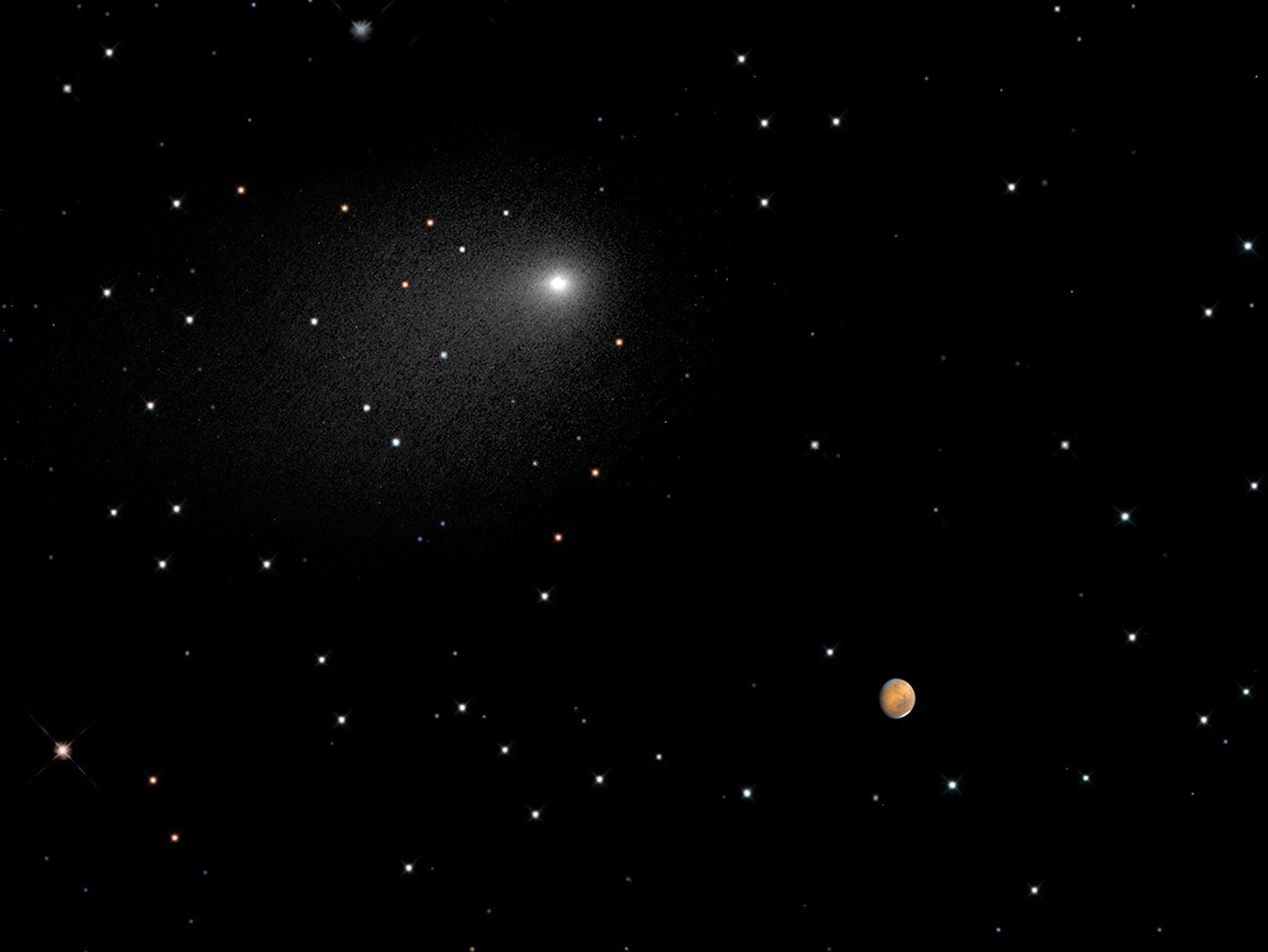 space images | close encounters: comet siding spring seen next to
