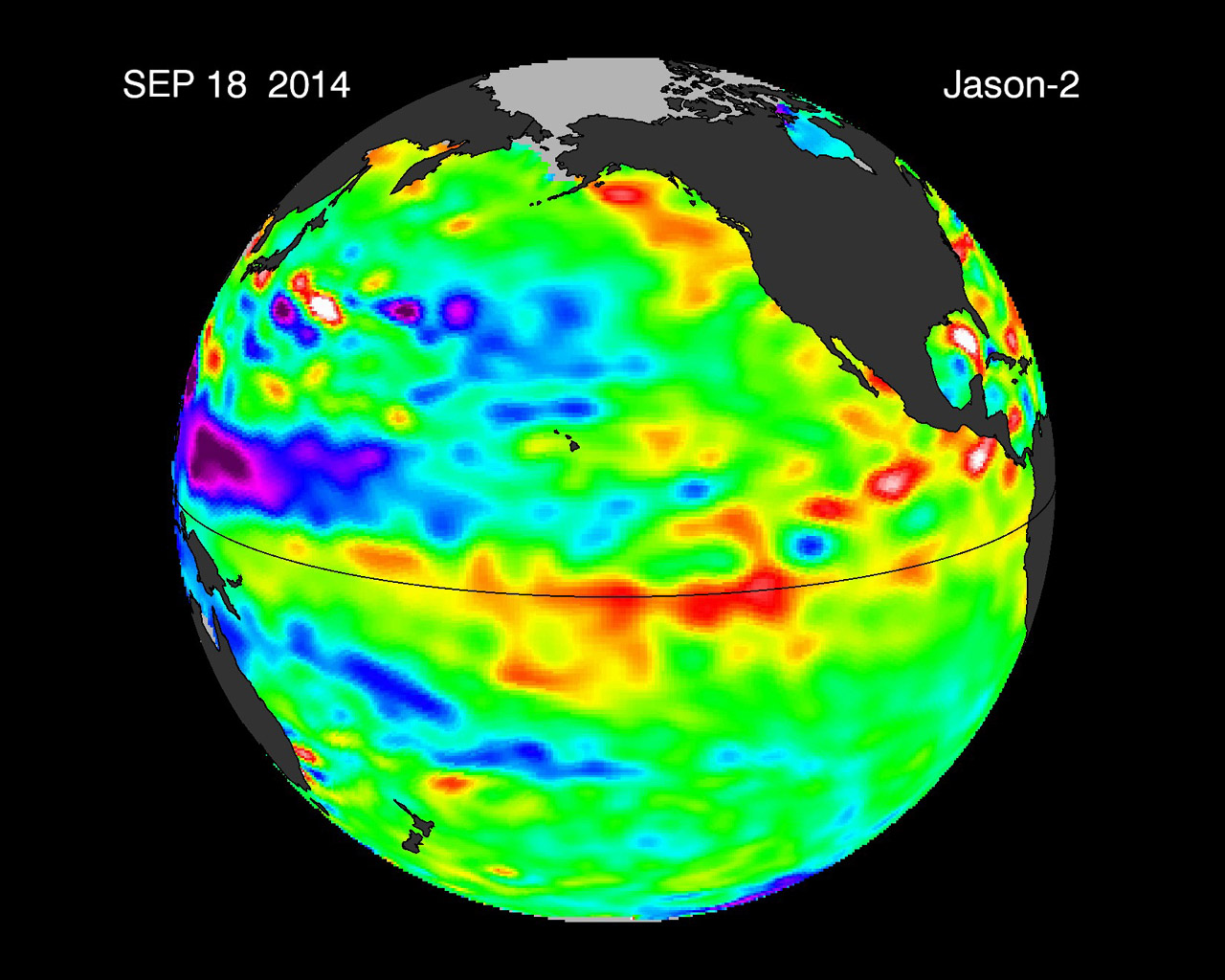 This image from NASA's European Jason-2 satellite shows Kelvin waves of high sea level (red/yellow) crossing the Pacific Ocean at the equator. The waves can be related to El Niño events.