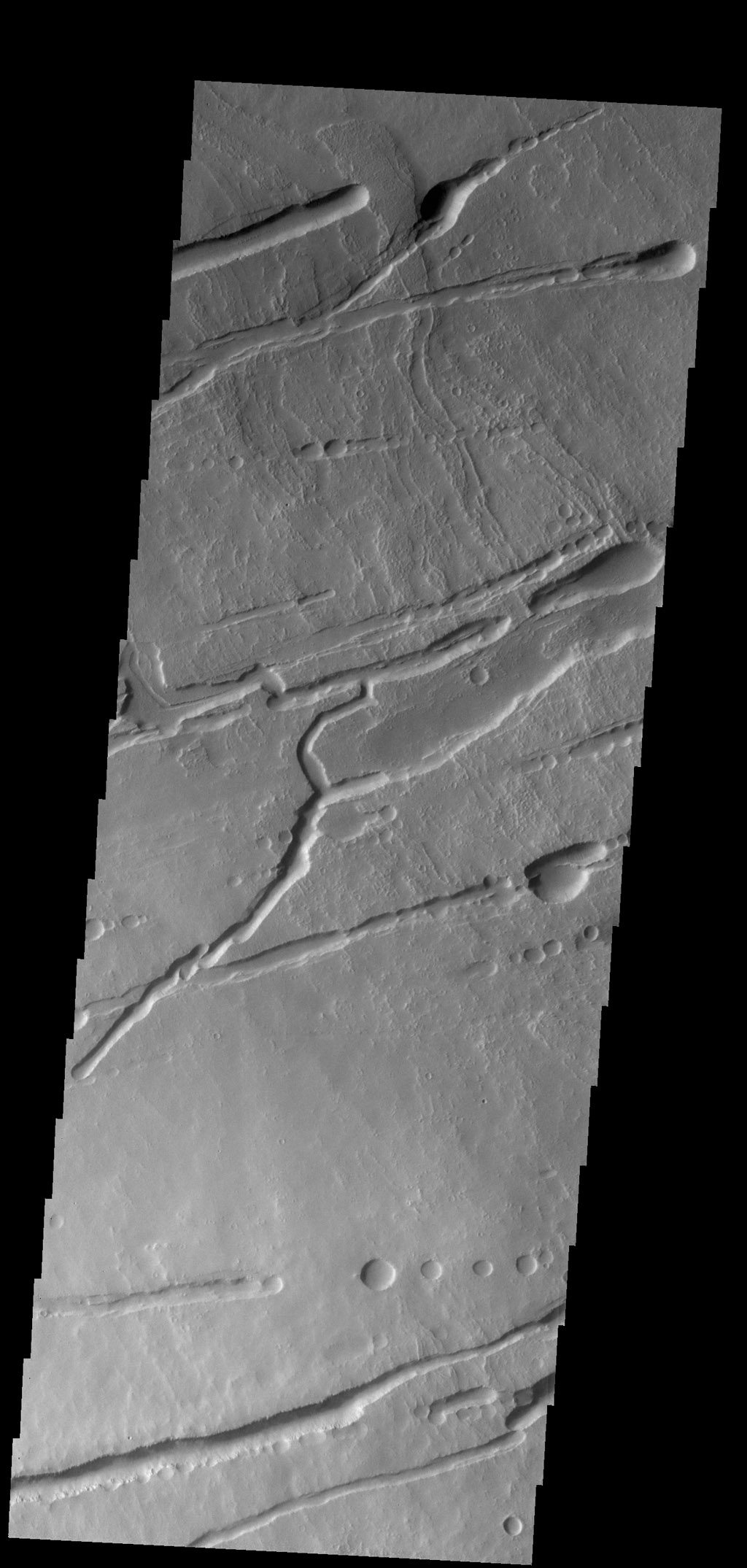 The fractures, collapse features and lava flows in this image captured by NASA's 2001 Mars Odyssey spacecraft are all located on the northern flank of Ascraeus Mons.