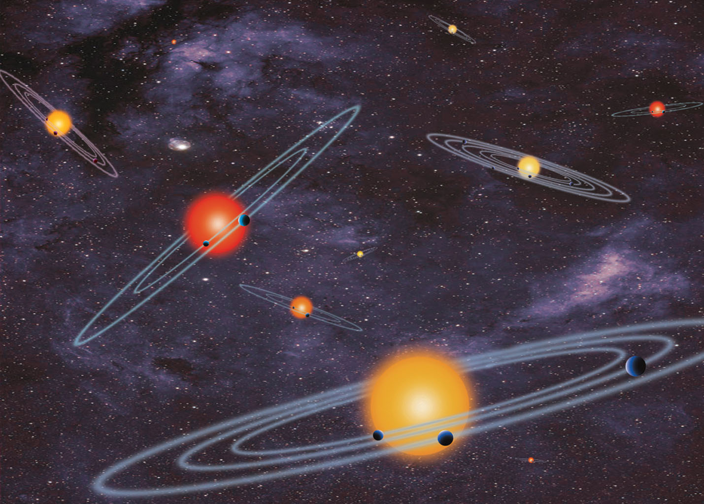 This illustration shows the unusual orbit of planet Kepler-413b around a close pair of orange and red dwarf stars. The planet's 66-day orbit is tilted 2.5 degrees with respect to the plane of the binary stars' orbit.