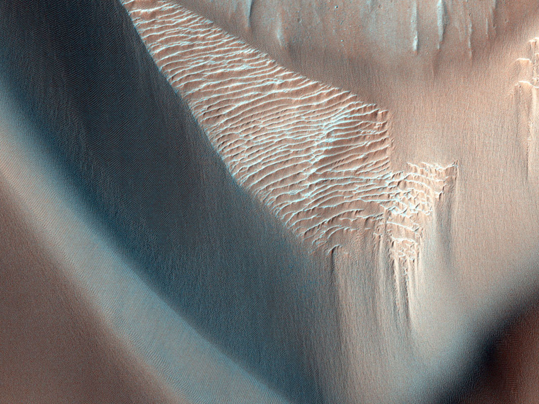 In this image from NASA's Mars Reconnaissance Orbiter, lower wall rock spurs are found that spread dark materials onto a dune field, suggesting local wall materials are a nearby sediment source for dunes.