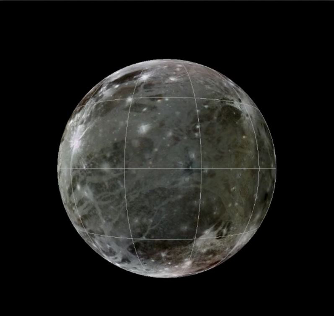 This is a frame from an animation of a rotating globe of Jupiter's moon Ganymede, with a geologic map superimposed over a global color mosaic, incorporating the best available imagery from NASA's Voyager 1 and 2 spacecraft, and Galileo spacecraft.