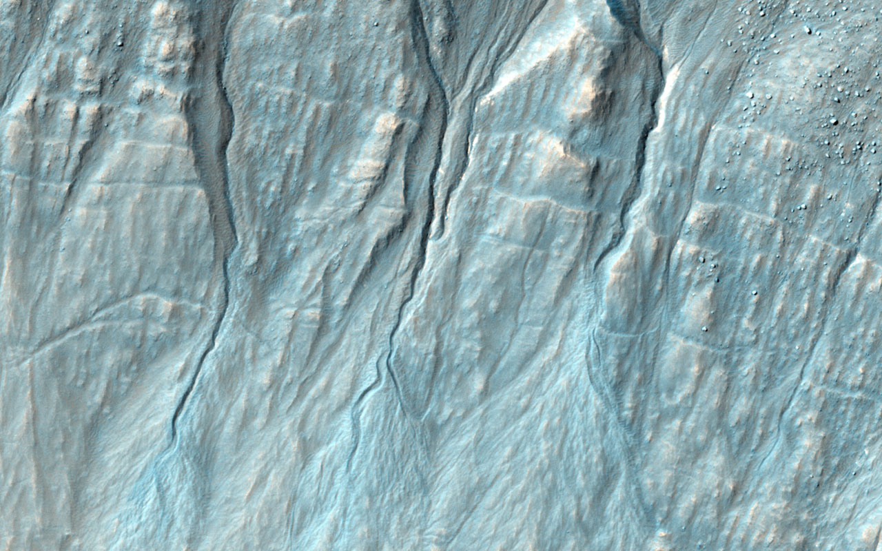 NASA's Mars Reconnaissance Orbiter reveals that gullies, or ravines, are landforms commonly found in the mid-latitudes on Mars, particularly in the Southern highlands.