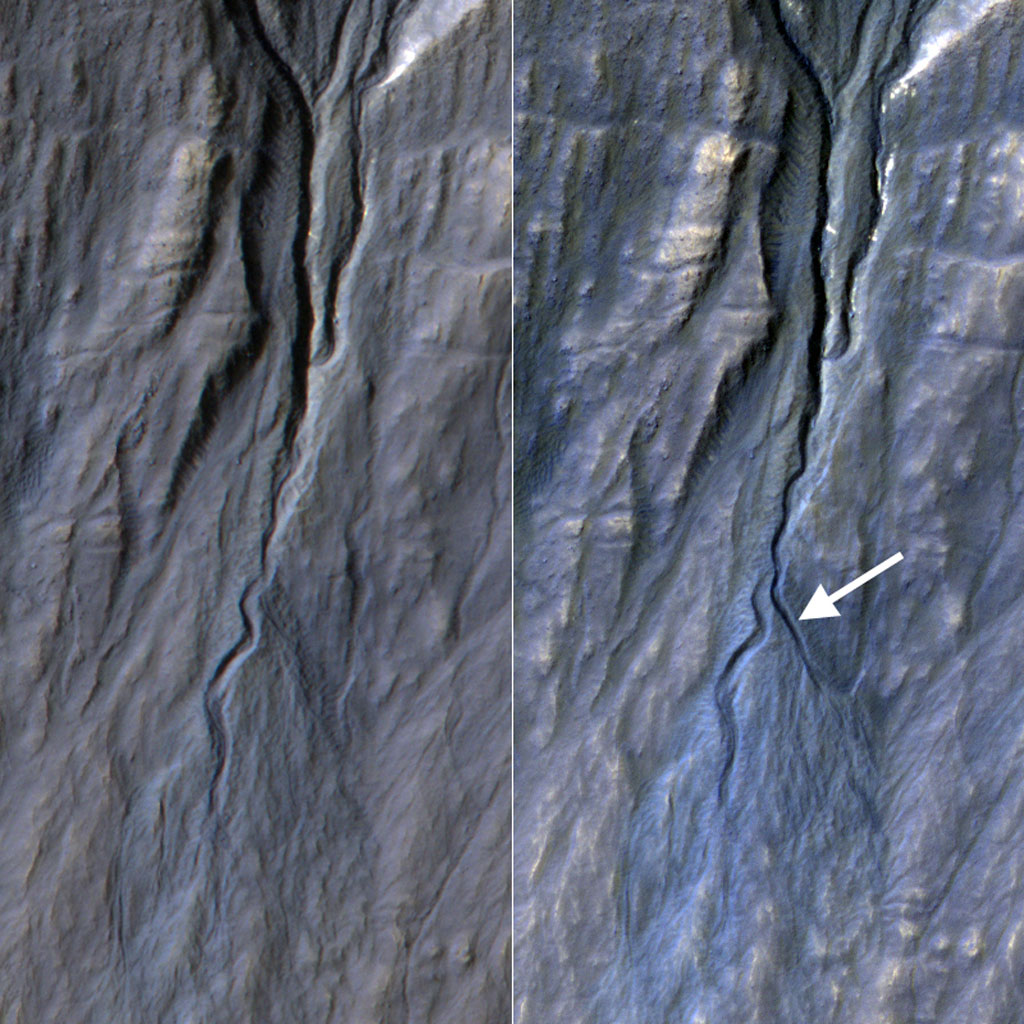 This pair of before (left) and after (right) images from NASA's Mars Reconnaissance Orbiter documents formation of a new channel on a Martian slope between 2010 and 2013, likely resulting from activity of carbon-dioxide frost.