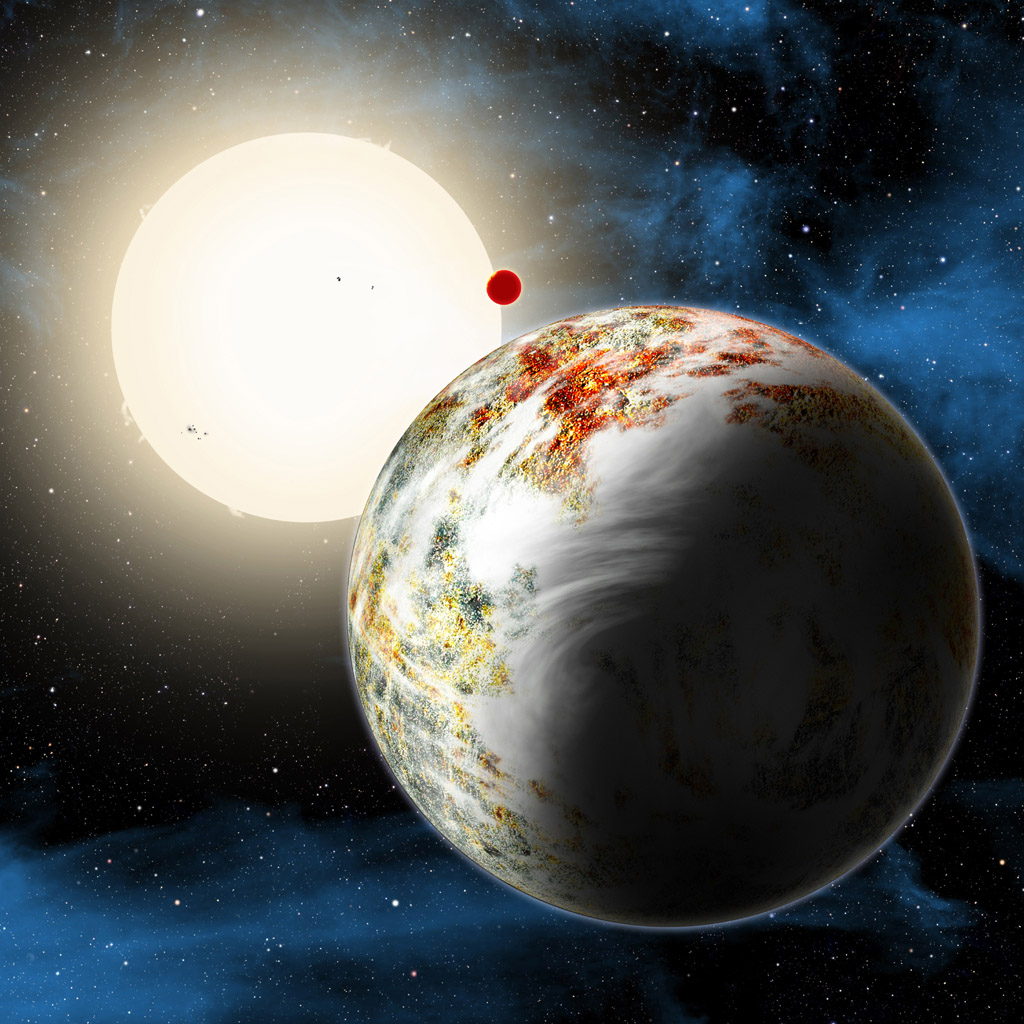 An artist's conception shows the Kepler-10 system, home to two rocky planets. In the foreground is Kepler-10c, a planet that weighs 17 times as much as Earth and is more than twice as large in size.