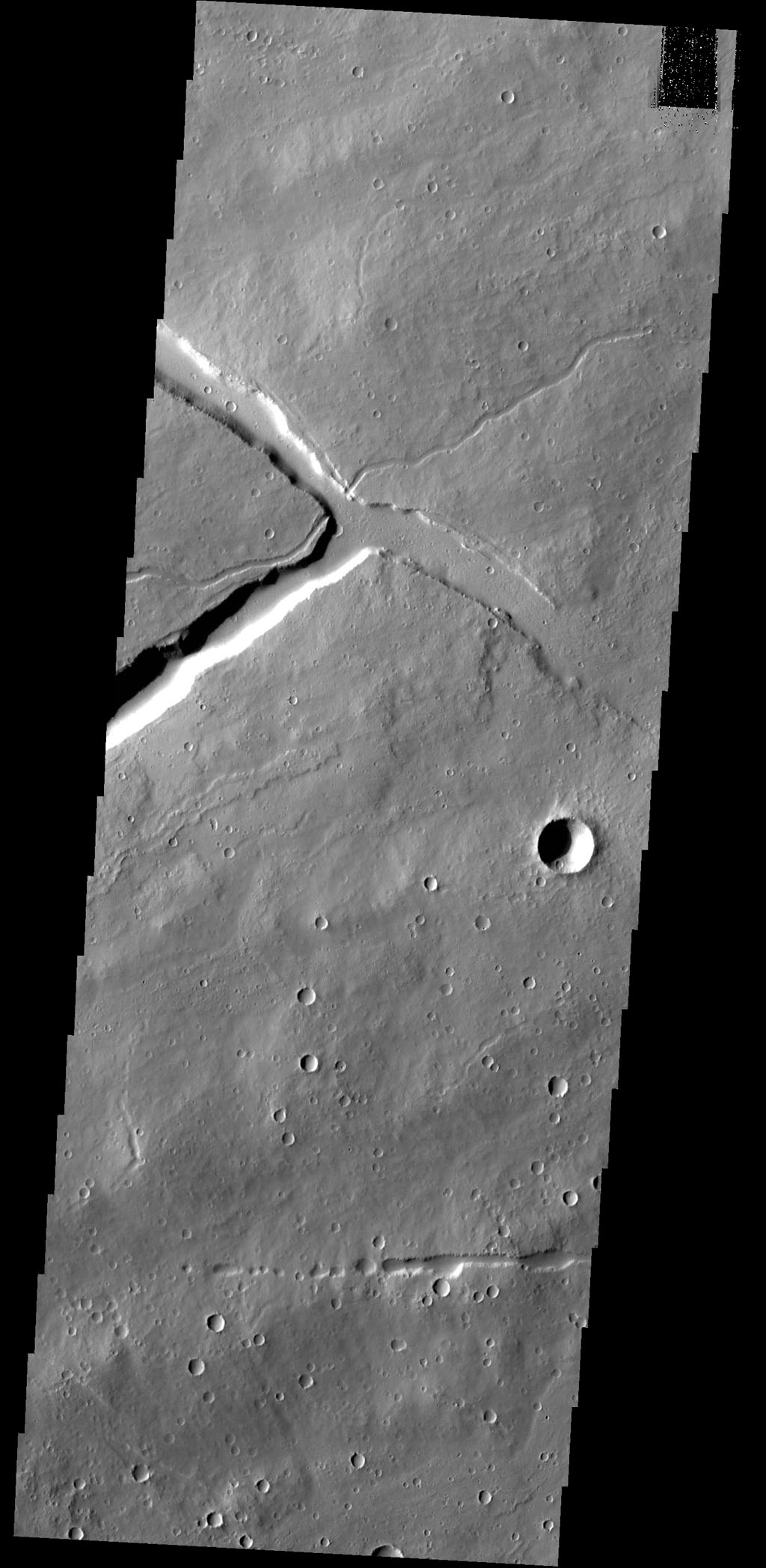 Towards the top of this image from NASA's 2001 Mars Odyssey spacecraft is a 'T' shaped depression and two sections of narrow channel located on the northeast part of the Elysium Mons volcanic complex. Fluids (like water, or lava) flow downhill.