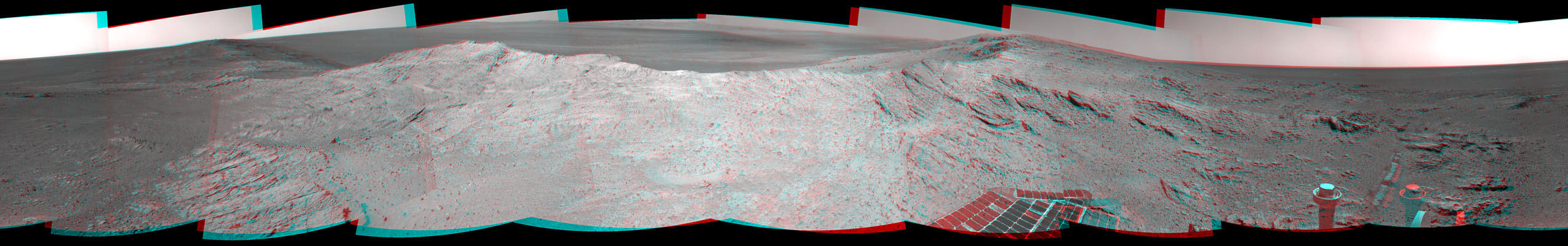 NASA's Mars Exploration Rover captured this stereo, 360-degree view near the ridgeline of Endeavour Crater's western rim. The center is southeastward. You need 3D glasses to view this image.
