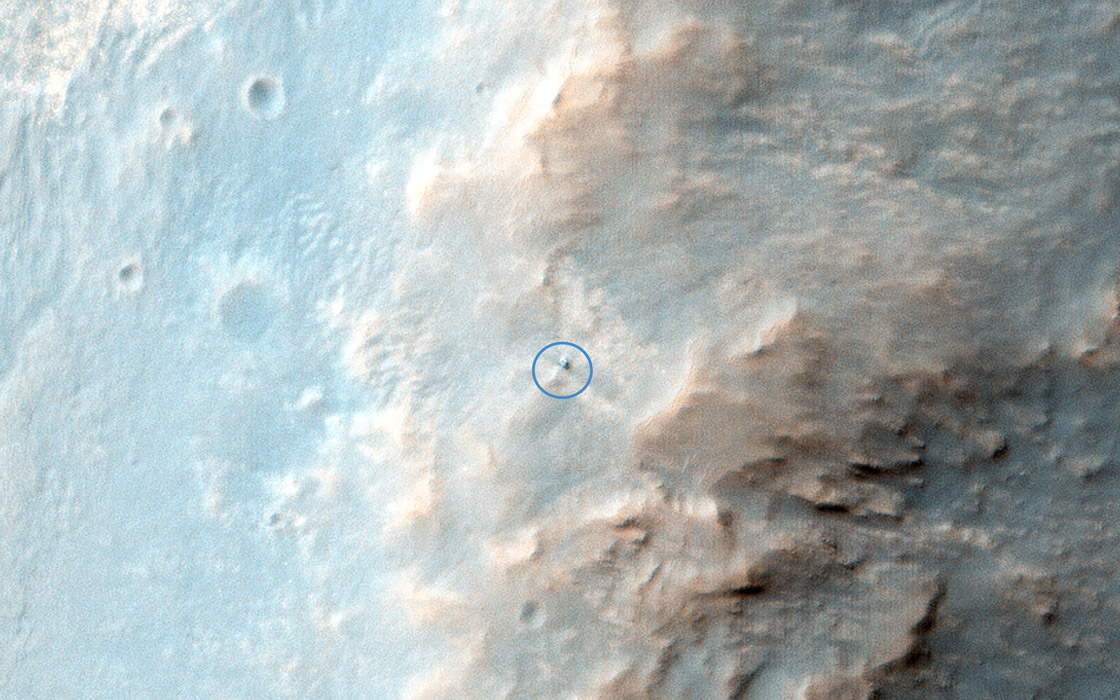 This is the latest image of NASA's Opportunity rover at Solander Point, where it spend a few week investigation Pinnacle rock (the 'jelly donut') that was flipper over by the rover wheel. This observation if from NASA's Mars Reconnaissance Orbiter.