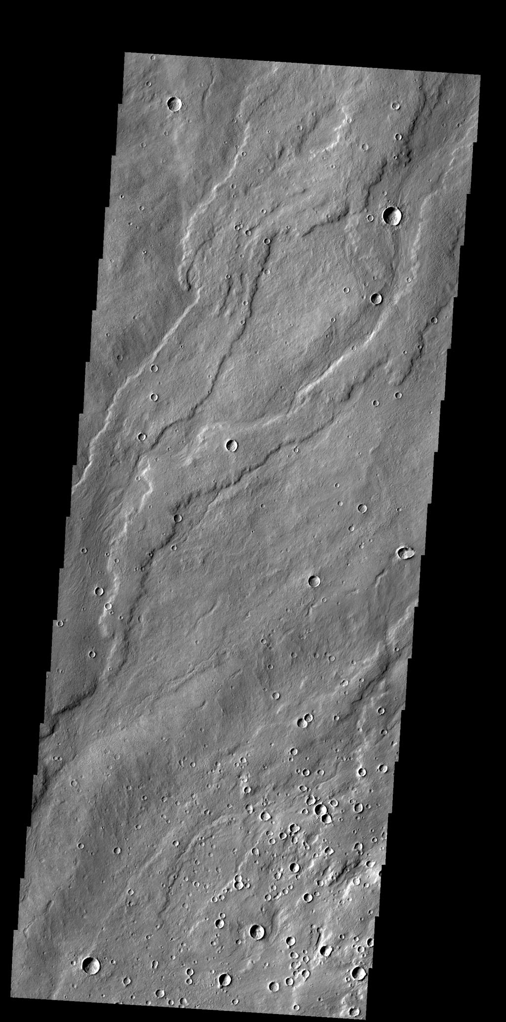 This image shows lava flows from Alba Mons as seen by NASA's 2001 Mars Odyssey spacecraft.