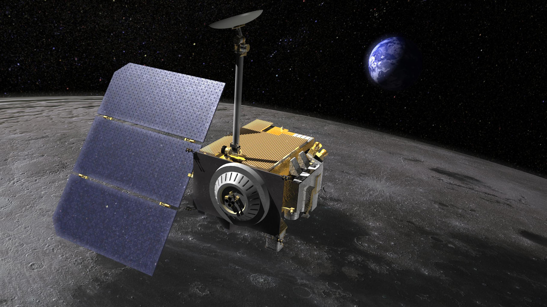 Artist's rendering of the Lunar Reconnaissance Orbiter (LRO,) above the moon.