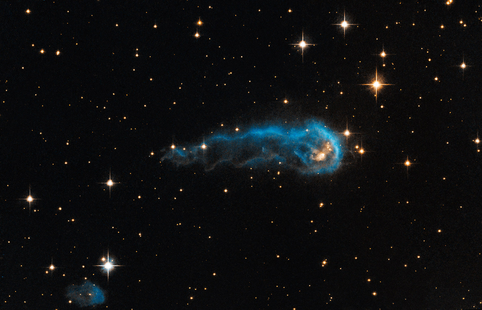 Known as IRAS 20324+4057 ('The Tadpole'), taken by NASA's Hubble Space Telescope in 2012, shows a bright blue tadpole as it appears to swim through the inky blackness of space.
