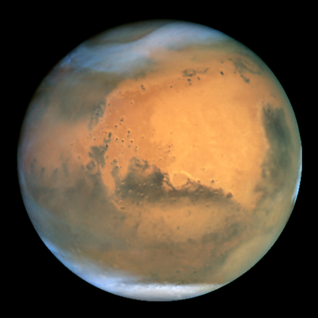 NASA's Earth-orbiting Hubble Space Telescope took the picture on June 26, 2001 when Mars was approximately 43 million miles (68 million km) from Earth -- the closest Mars has ever been to Earth since 1988.