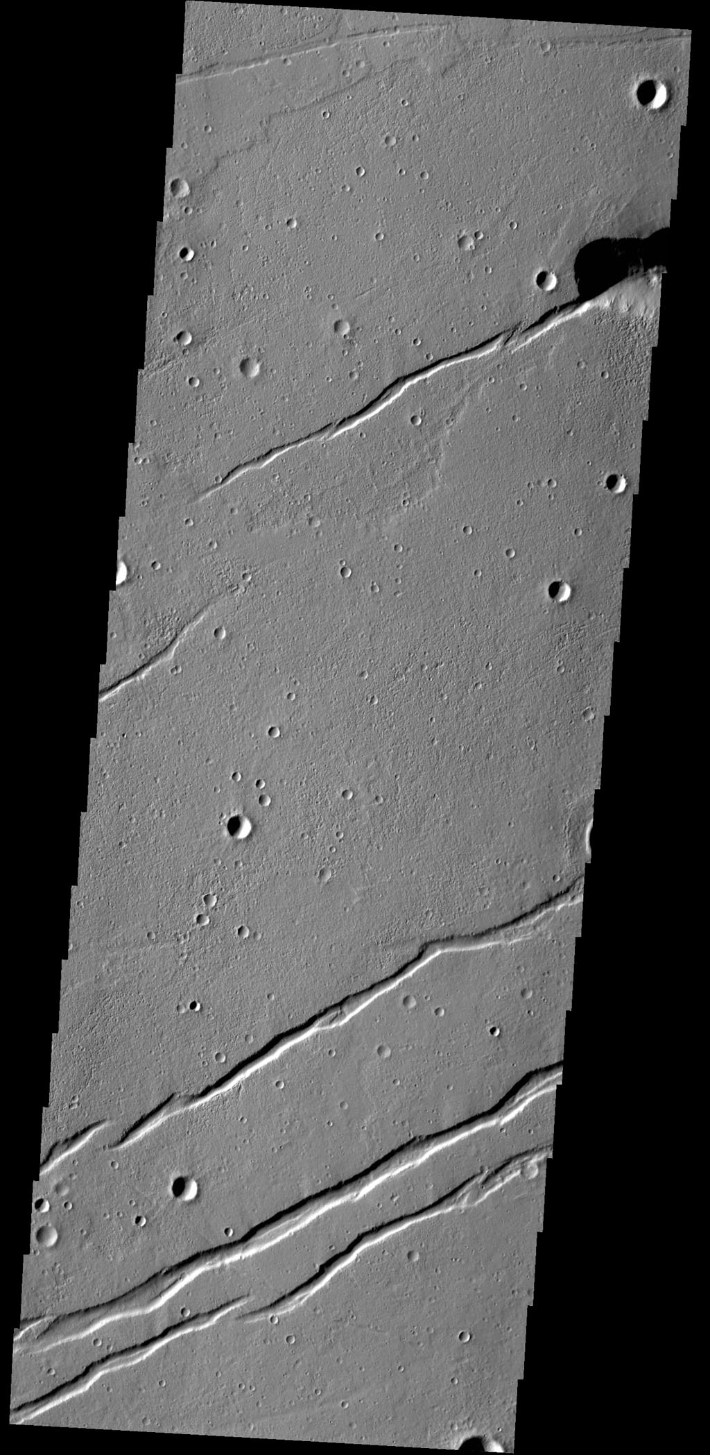 The depressions in this image captured by NASA's 2001 Mars Odyssey spacecraft are graben that make up part of Labeatis Fossae.