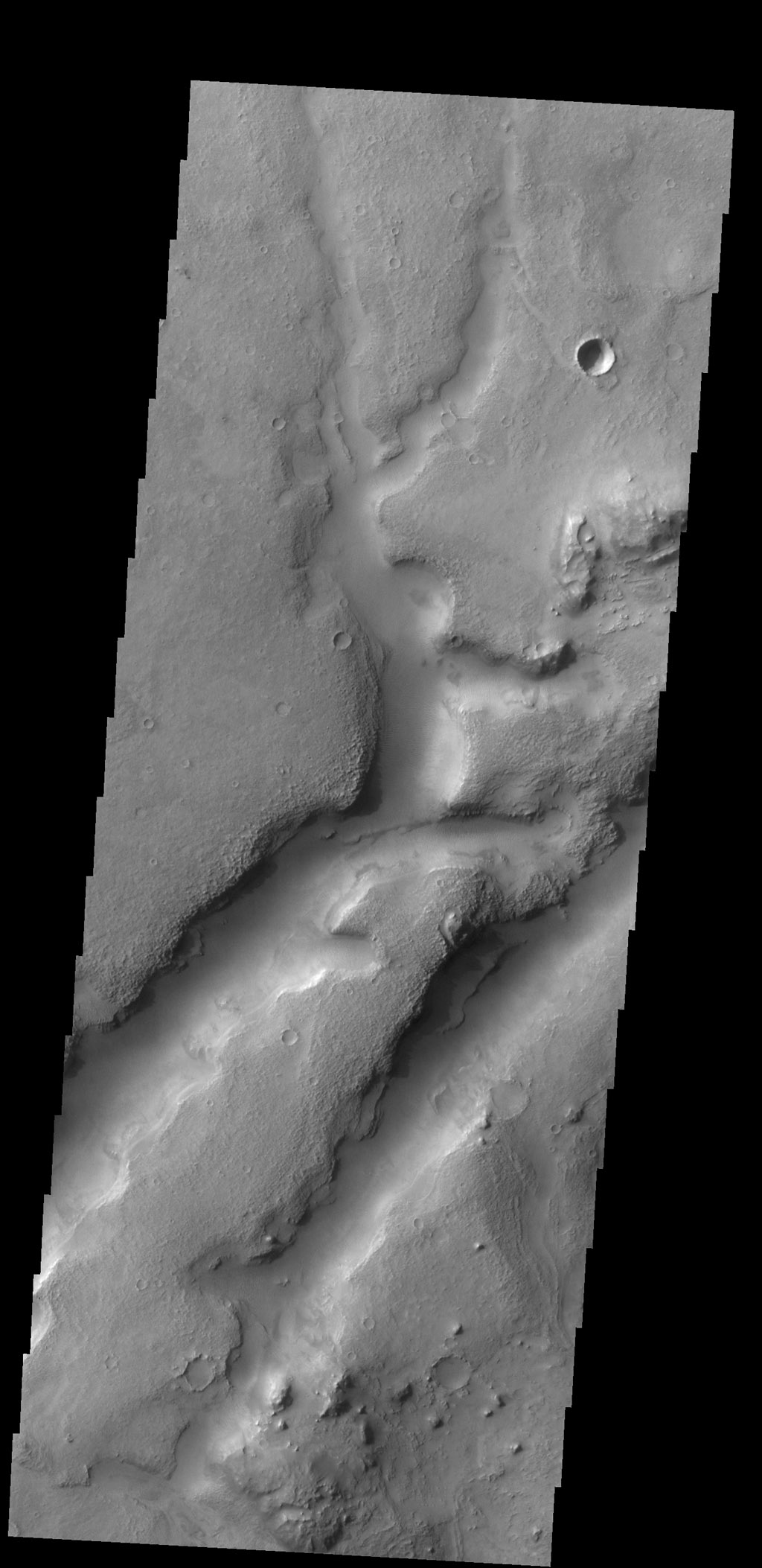 This complex channel is located in the Nili Fossae region as seen by NASA's 2001 Mars Odyssey spacecraft.