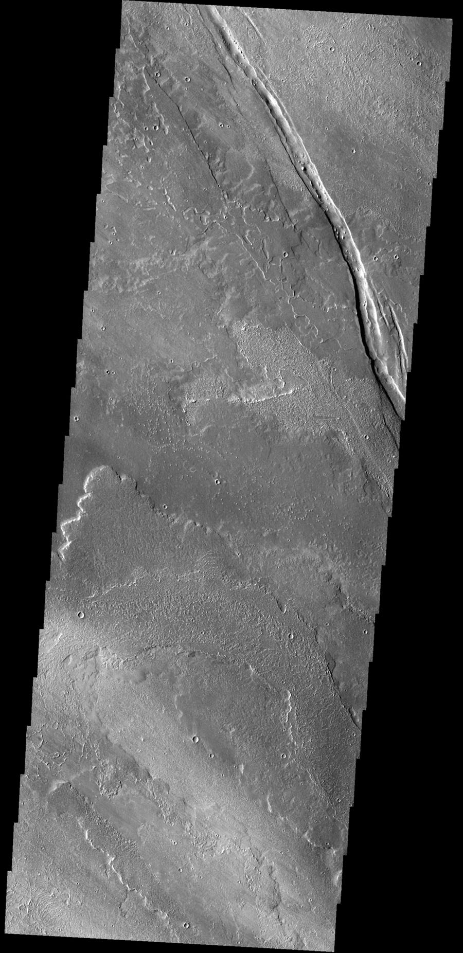 The graben in this image from NASA's 2001 Mars Odyssey spacecraft is Cyane Fossae. The lava flows are part of the extensive Tharsis volcanic flows.