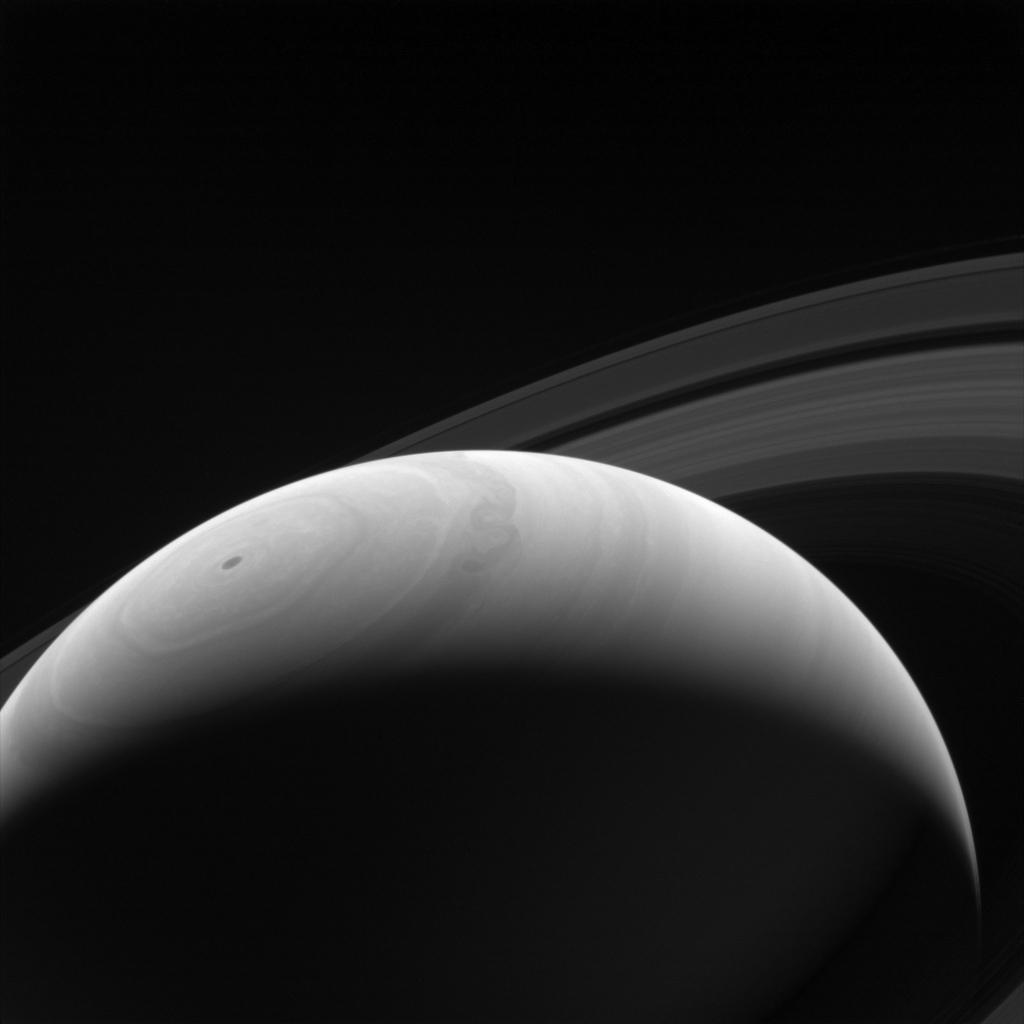 A new day dawns on Saturn as the part of the planet is seen emerging once more into the Sun's light by NASA's Cassini orbiter. With an estimated rotation period of 10 hours and 40 minutes, Saturn's days and nights are much shorter than those on Earth.