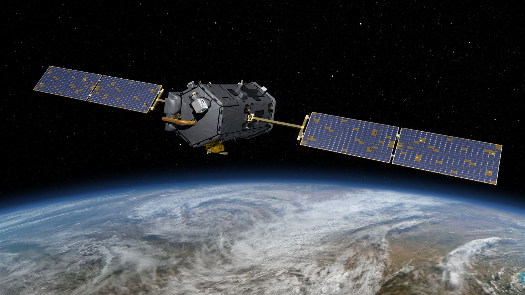 This most recent artist's rendering shows NASA's Orbiting Carbon Observatory (OCO)-2, one of five new NASA Earth science missions set to launch in 2014, and one of three managed by the Jet Propulsion Laboratory (JPL).