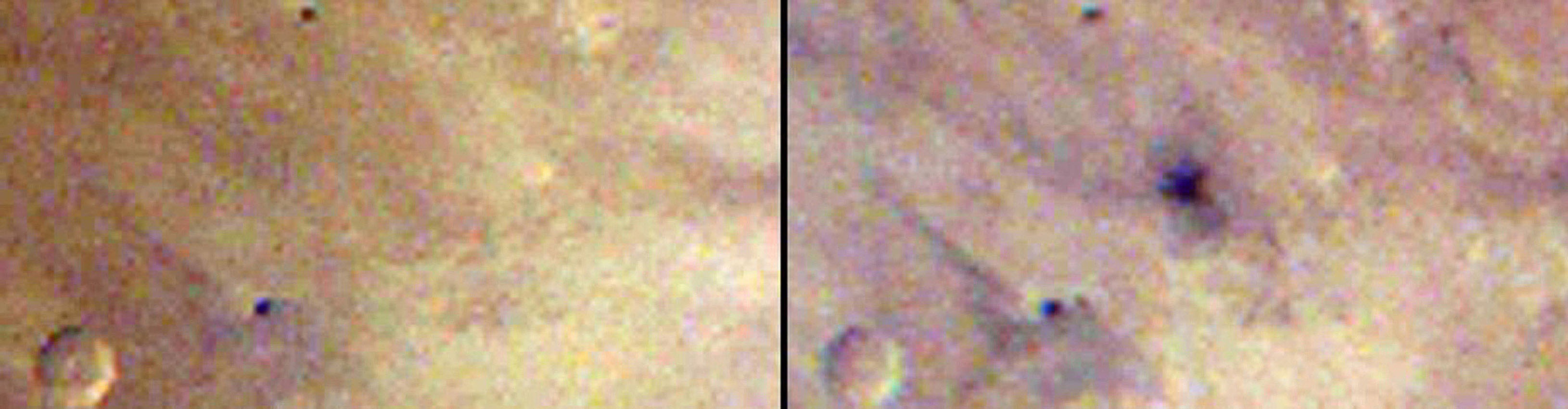 These two images taken one day apart by the MARCI weather camera on NASA's Mars Reconnaissance Orbiter reveal when an asteroid impact made the scar seen in the right-hand image.