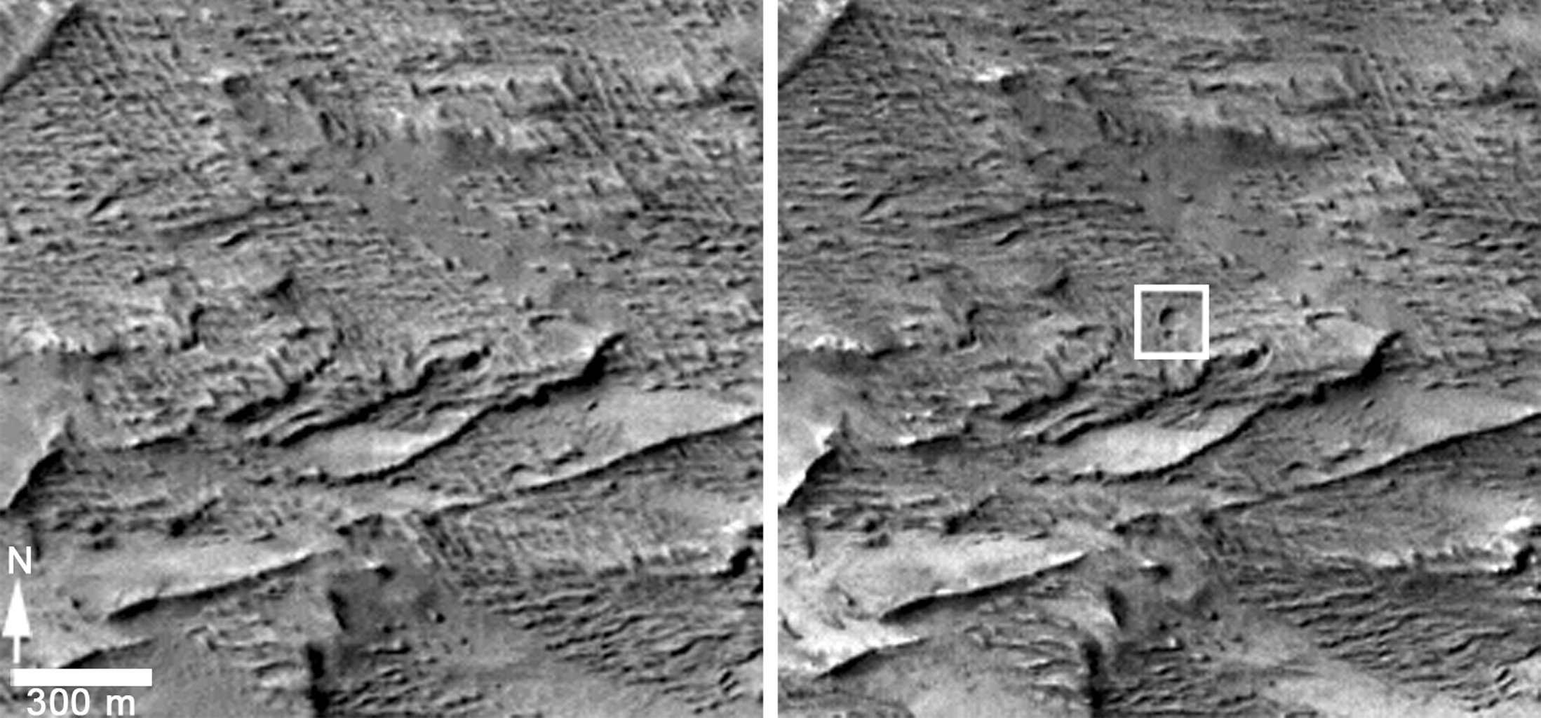 These images from the Context Camera on NASA's Mars Reconnaissance Orbiter were taken before and after an apparent impact scar appeared in the area in March 2012. Comparing the images confirms that fresh craters appeared during the interval.
