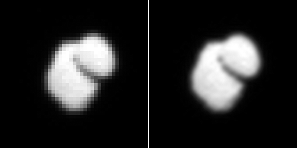 This observation from ESA's Rosetta spacecraft shows that comet 67P/Churyumov-Gerasimenko has a two-part shape. The image on the left is from OSIRIS; the image on the right is enhanced with interpolated data.
