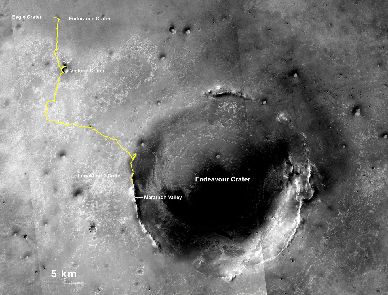 NASA's Opportunity rover, working on Mars since January 2004, passed 25 miles of total driving on the July 27, 2014. The gold line on this map shows Opportunity's route from the landing site inside Eagle Crater, in upper left.