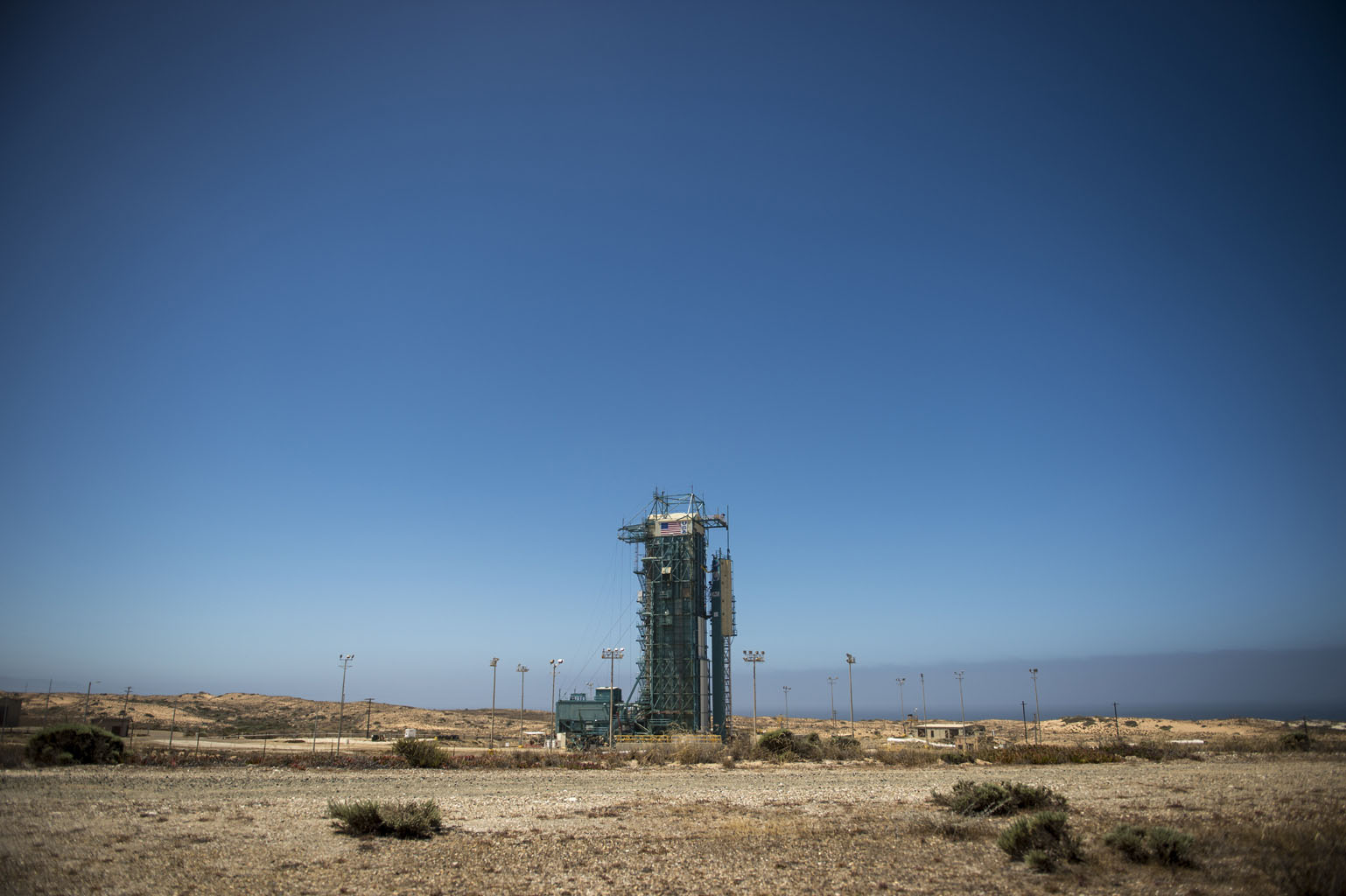 The launch gantry, surrounding the United Launch Alliance Delta II rocket with the Orbiting Carbon Observatory-2 (OCO-2) satellite onboard, is seen at Space Launch Complex 2, Sunday, June 29, 2014, Vandenberg Air Force Base, Calif.