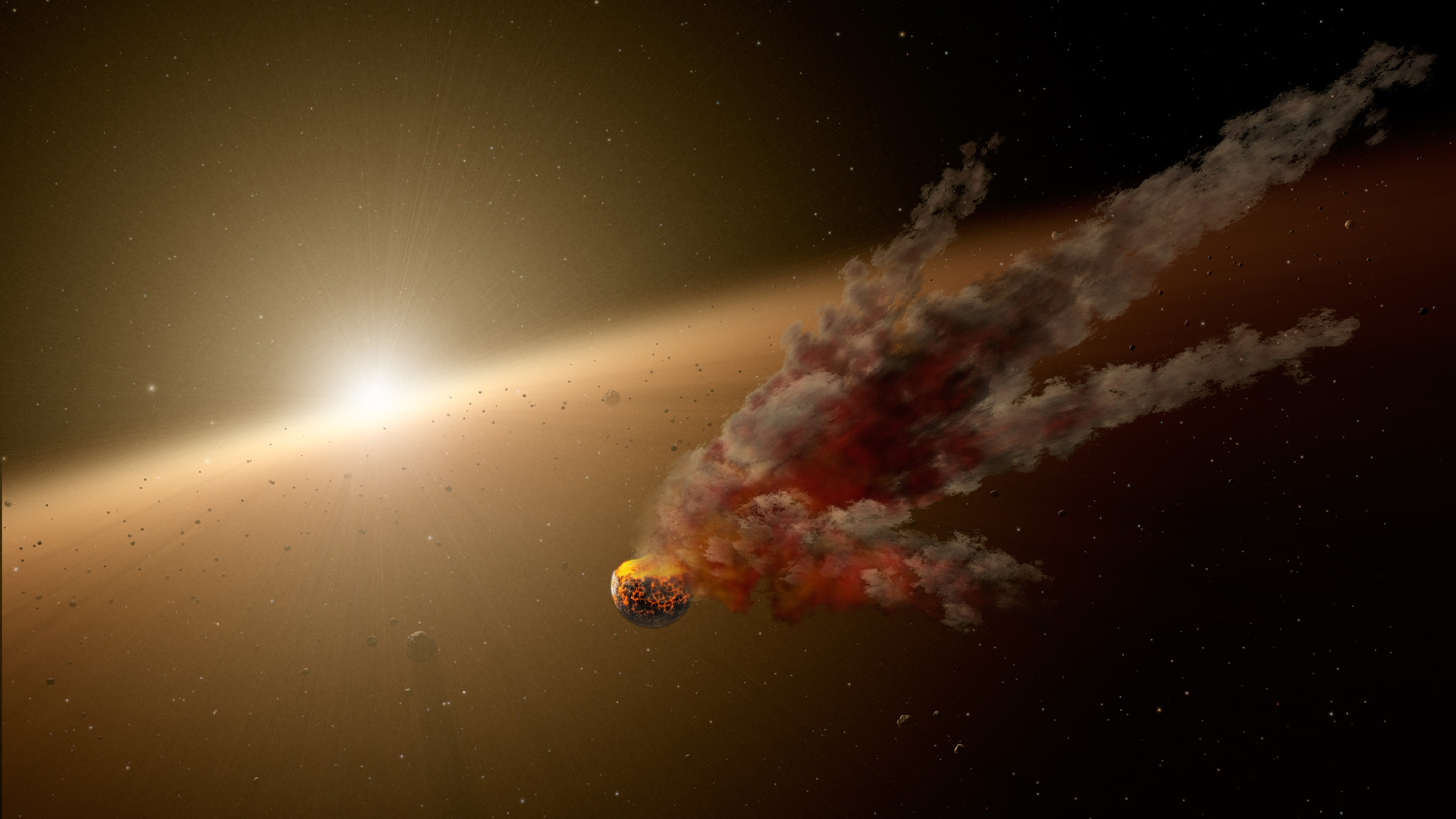 This artist's concept shows the immediate aftermath of a large asteroid impact around NGC 2547-ID8, a 35-million-year-old sun-like star thought to be forming rocky planets.