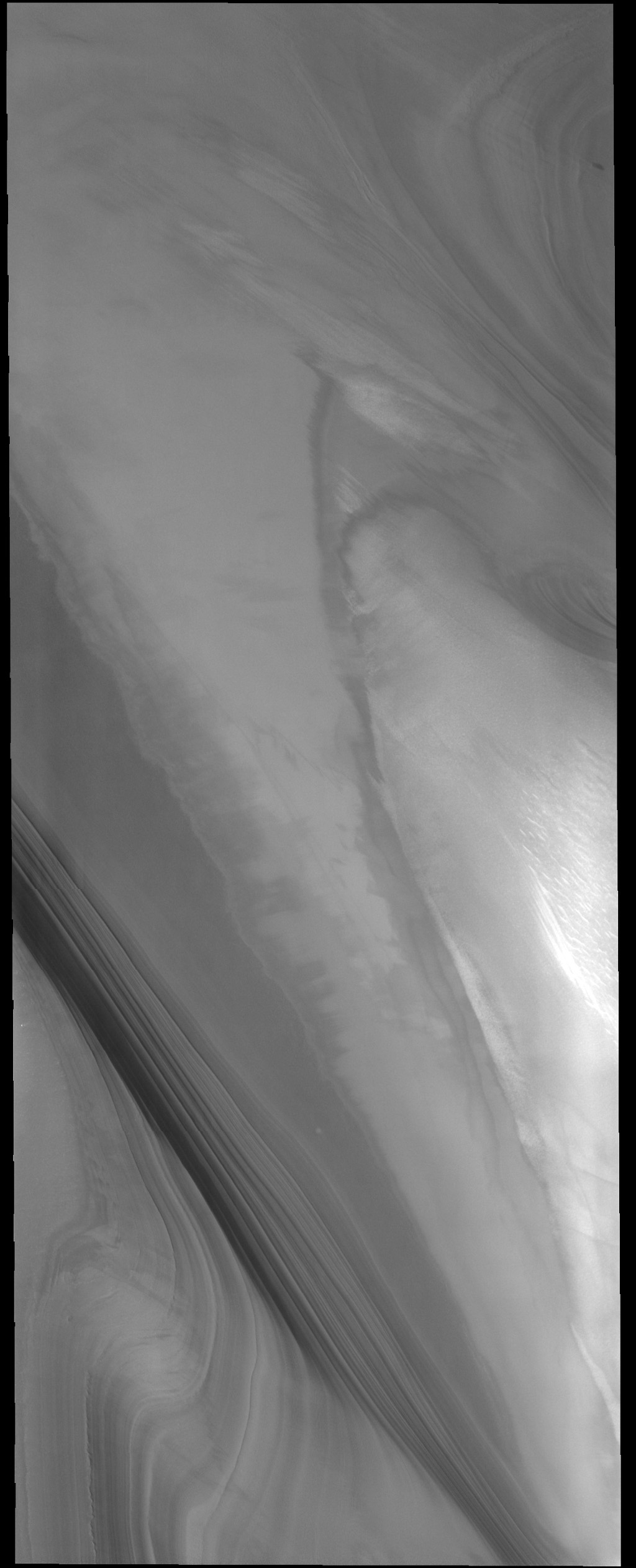 This image captured by NASA's 2001 Mars Odyssey spacecraft very clearly shows the layering that is found in both polar caps. This image is of the north polar cap.