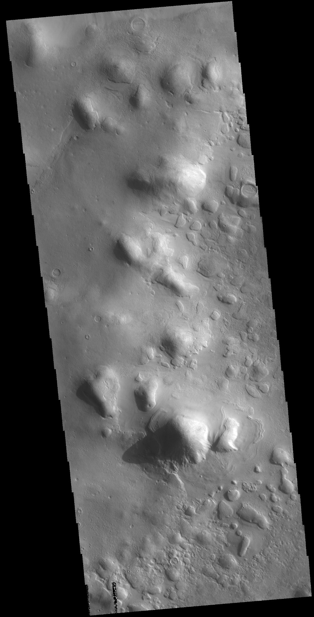 The hills in this image captured by NASA's 2001 Mars Odyssey spacecraft are part of Protonilus Mensae, located on the northern margin of Terra Sabaea.