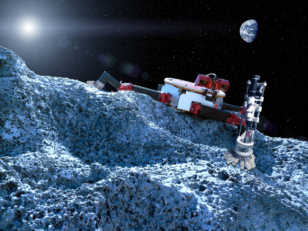 This artist's concept shows a robot with legs that have microspine grippers, which could potentially explore a rocky surface, such as an asteroid, in microgravity.