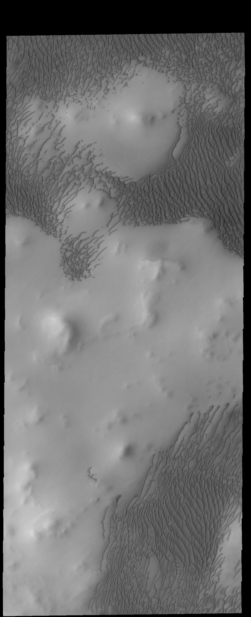 This image captured by NASA's 2001 Mars Odyssey spacecraft shows part of the large dune field called Olympia Undae. There are hills in this region, and the dunes are concentrated in the lower elevations.
