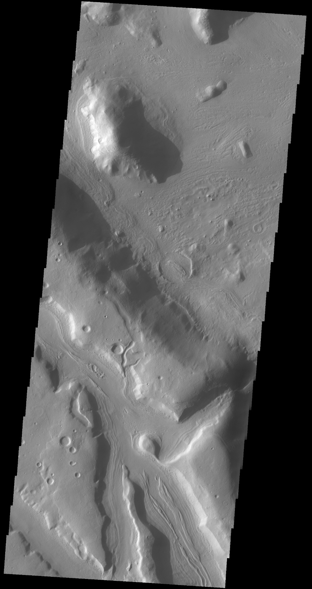 The channels in this image captured by NASA's 2001 Mars Odyssey spacecraft are part of Coloe Fossae, a series of linear depressions on the northeast margin of Terra Sabaea.