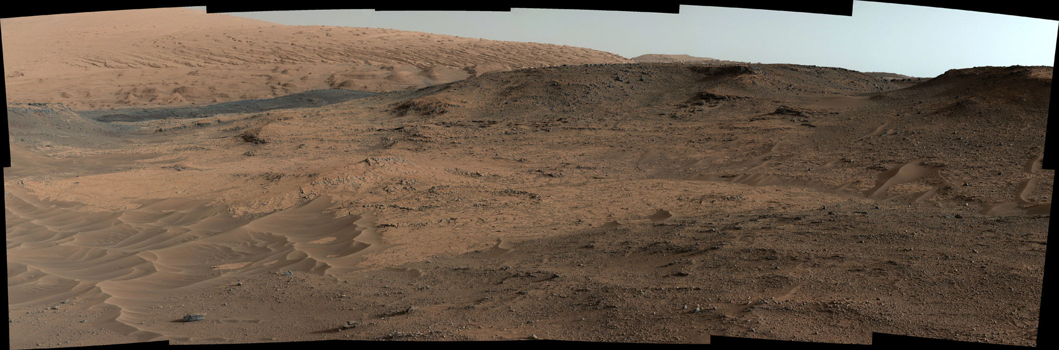 This southeastward-looking vista from the Mast Camera (Mastcam) on NASA's Curiosity Mars rover shows the 'Pahrump Hills' outcrop and surrounding terrain seen from a position about 70 feet (20 meters) northwest of the outcrop.