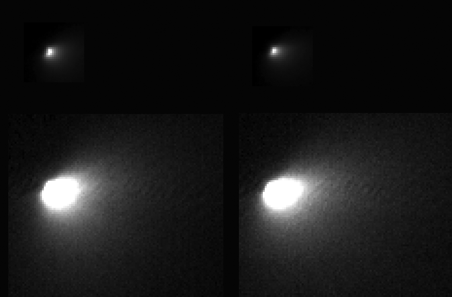 These images were taken of comet C/2013 A1 Siding Spring by NASA's Mars Reconnaissance Orbiter on Oct. 19, 2014, during the comet's close flyby of Mars and the spacecraft.