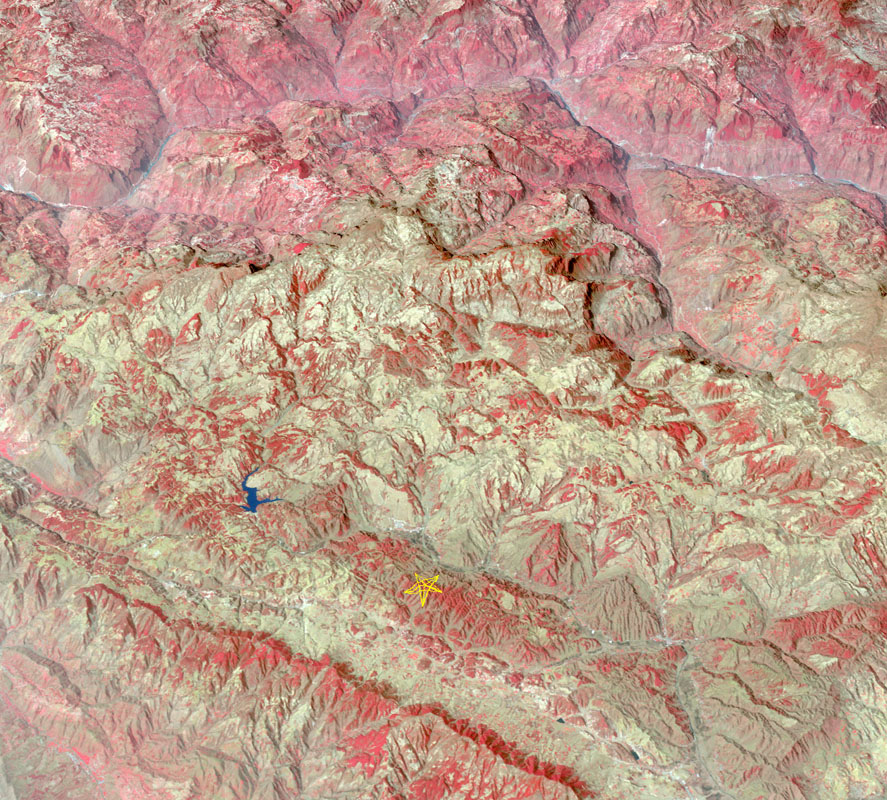 The star on this image from the NASA's Terra spacecraft indicates the eipcenter of a magnitude 6.1 earthquake which truck in southern China's Yunnan province, toppling thousands of homes and causing numerous casualties.