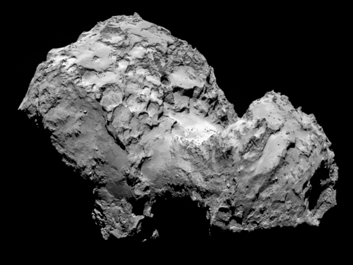 Comet 67P/Churyumov-Gerasimenko by ESA's Rosetta's OSIRIS narrow-angle camera on August 3, 2014, from a distance of 177 miles (285 kilometers). The image resolution is 17 feet (5.3 meters) per pixel.