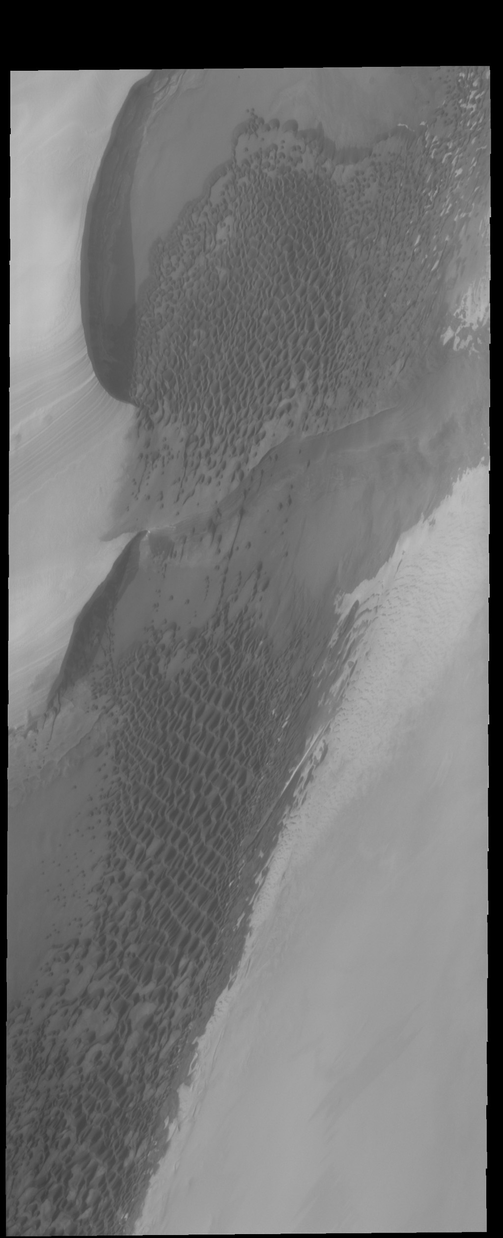 The dunes in this image captured by NASA's 2001 Mars Odyssey spacecraft are located right at the edge of the polar cap.