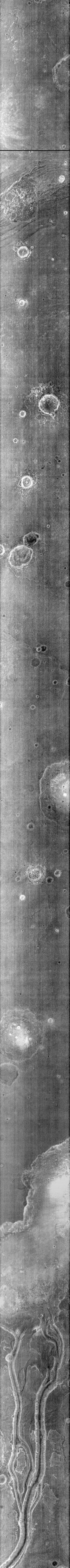 Near the bottom of this nighttime image captured by NASA's 2001 Mars Odyssey spacecraft are several channels. The dusty channel floors are darker (colder) than the rocky walls.