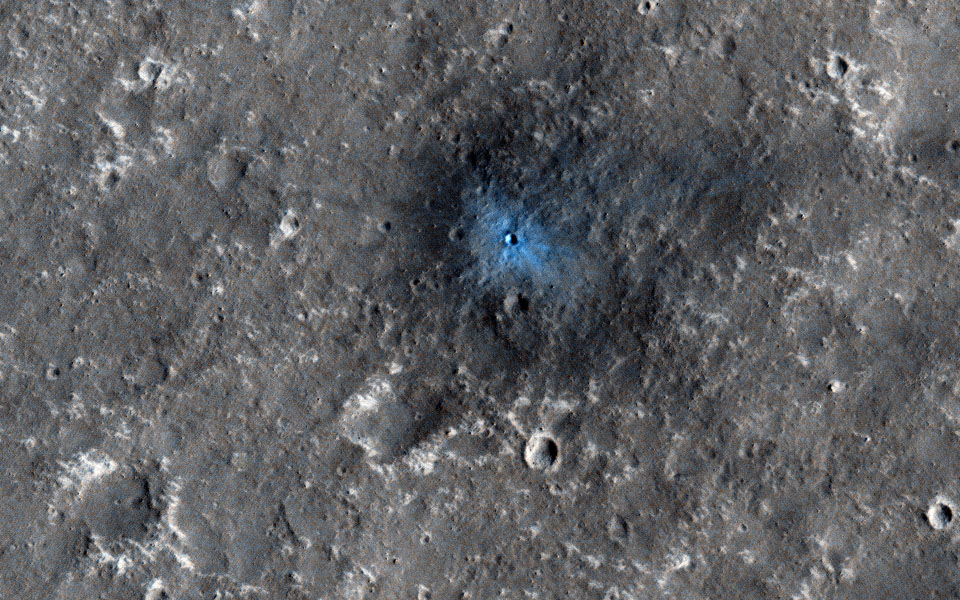 This recent image from NASA's Mars Reconnaissance Orbiter, acquired to certify a landing site for NASA'a InSight mission, shows a distinctive crater with a very sharp rim and ejecta.