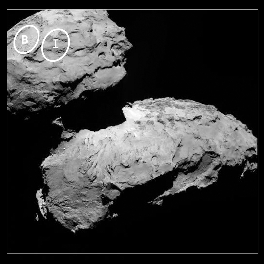 This annotated image depicts two of the five potential landing sites for ESA's Rosetta mission's Philae lander.