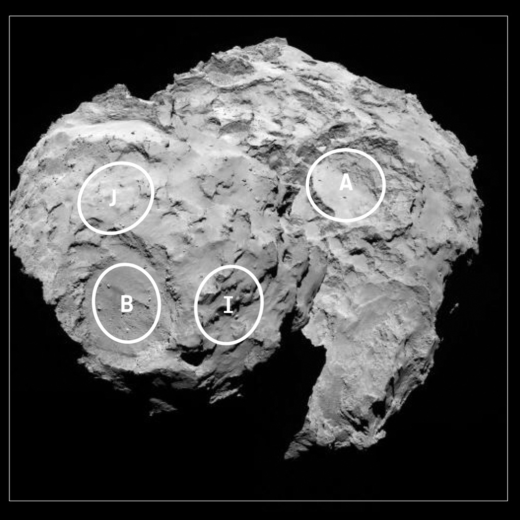 This annotated image depicts four of the five potential landing sites for ESA's Rosetta mission's Philae lander.