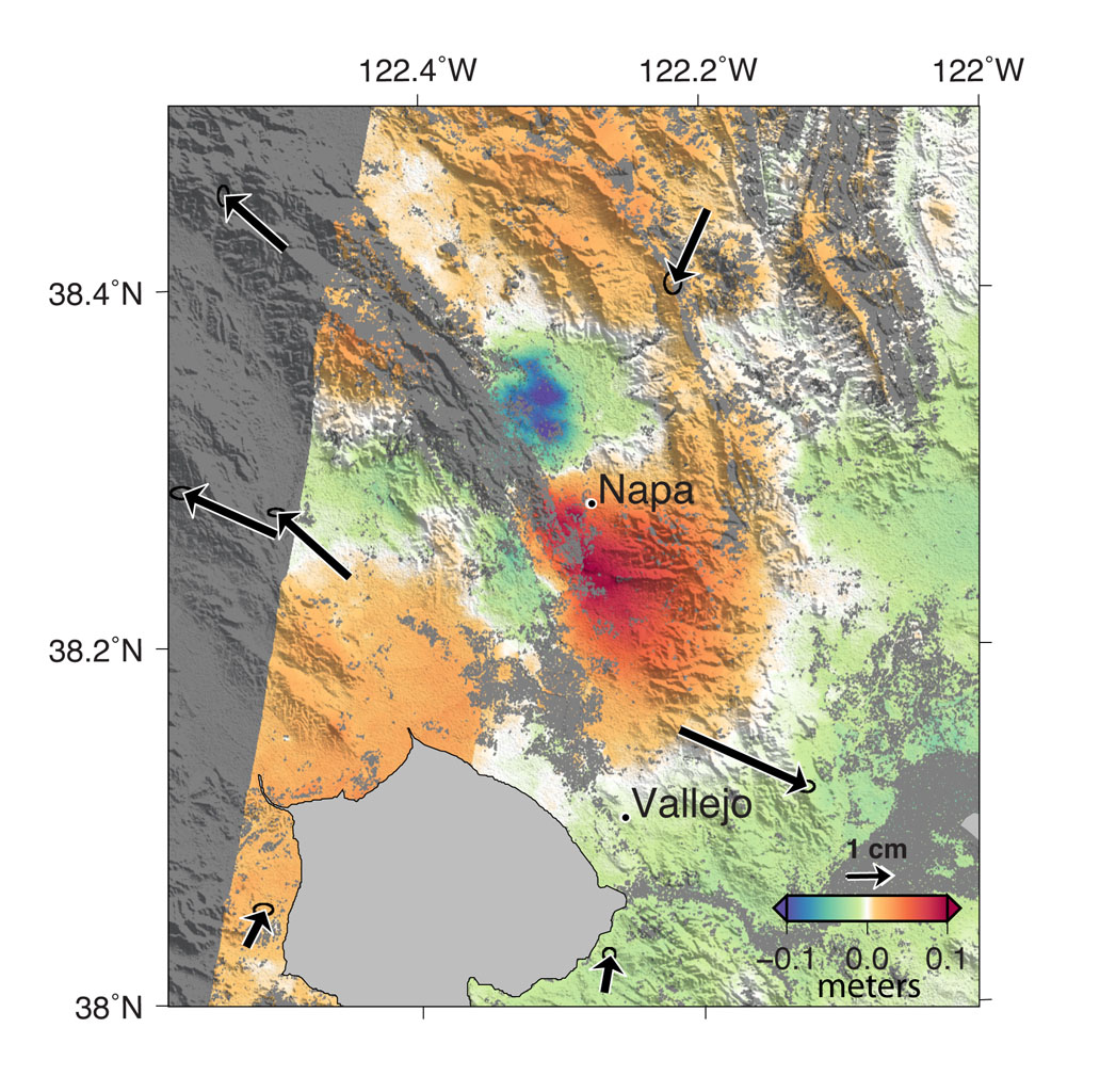 A magnitude 6.0 earthquake struck southern Napa county northeast of San Francisco, California, on Aug. 24, 2014. NASA satellite data reveal ground defomation.