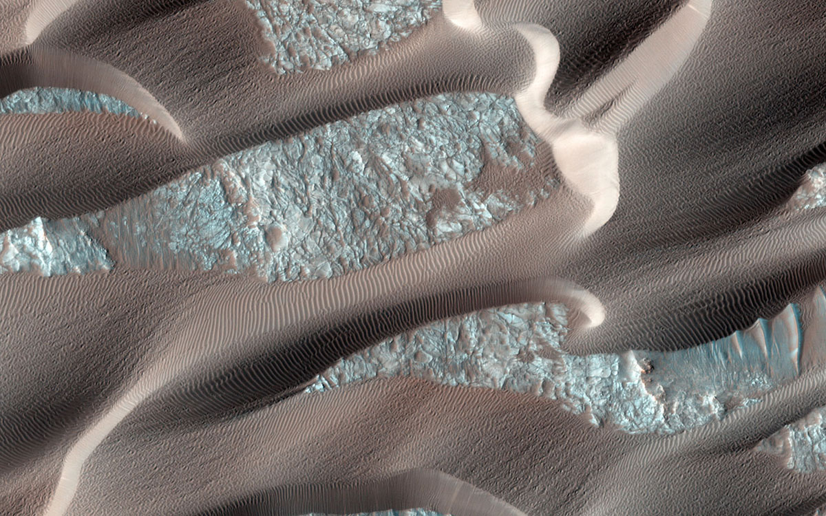Nili Patera is a region on Mars in which dunes and ripples are moving rapidly. HiRISE continues to monitor this area every couple of months to see changes over seasonal and annual time scales as seen by NASA's Mars Reconnaissance Orbiter.